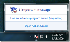 action center notification